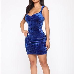 Fashion Nova Blue Velvet Dress